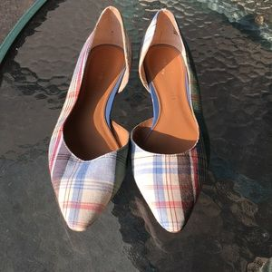 Tommy Hilfiger Plaid Pointed Toe Flats Size 6.5
